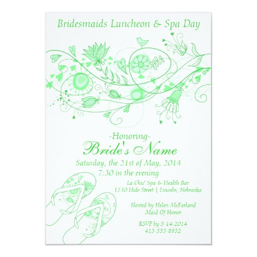Personalized Bridesmaids Spa Day Invitations