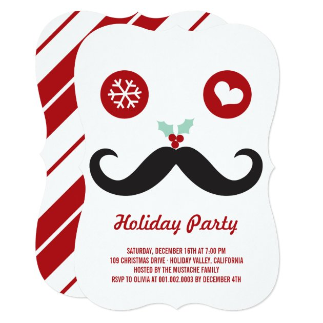 Whimsical Mr Mustache Funny Holiday Party Invite