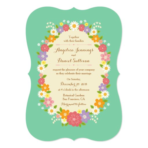 Whimsical Rustic Romantic Flower Wreath (Mint) 5x7 Paper