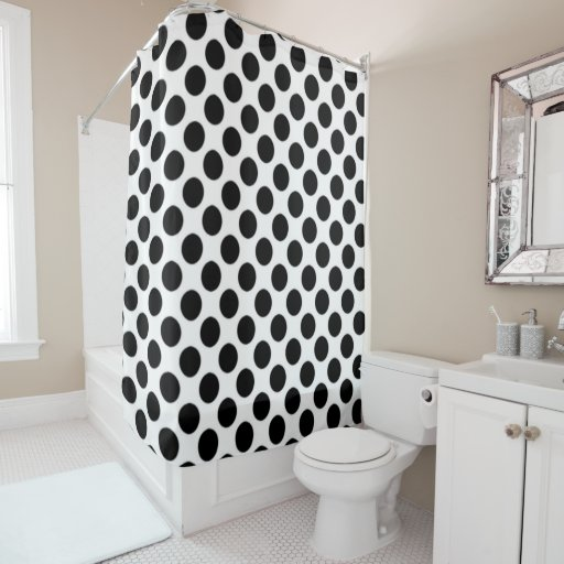 white and black polka dots shower curtain zazzle. Black Bedroom Furniture Sets. Home Design Ideas