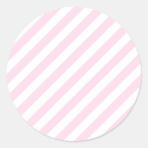 White and Light Pink Stripes. Classic Round Sticker | Zazzle