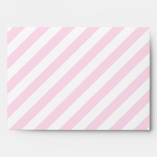 White and Light Pink Stripes. Envelope | Zazzle