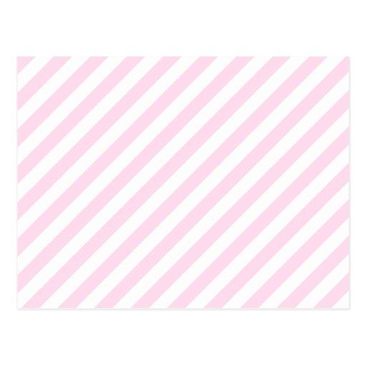 White and Light Pink Stripes. Postcard | Zazzle
