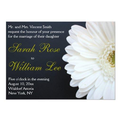 White Daisy Wedding Invitation: White, Black, And Gold Daisy Wedding Invitation