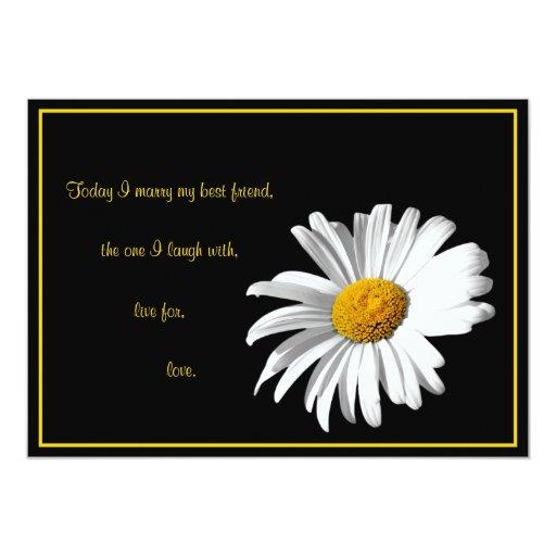 White Daisy Wedding Invitation: White Black Gold Daisy Wedding Invitation
