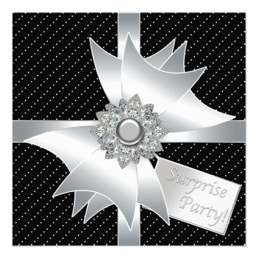 White Black Surprise Birthday Party Invite