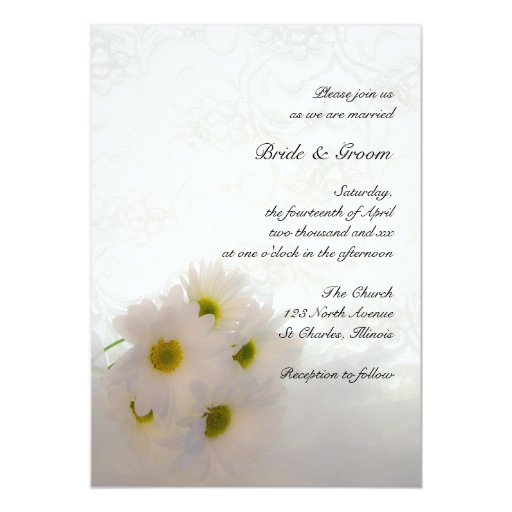 White Daisy Wedding Invitation: White Daisies And Lace Wedding 5x7 Paper Invitation Card
