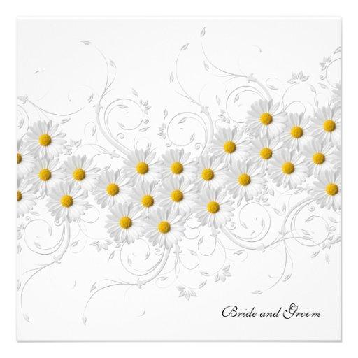 "White Daisy Wedding Invitation: White Daisy Floral Swirls Wedding Invitation 5.25"" Square"