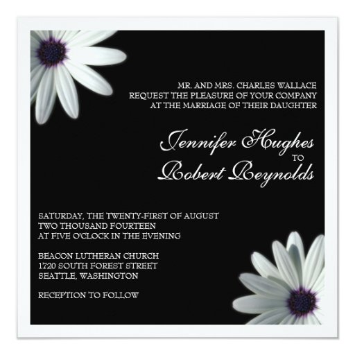 White Daisy Wedding Invitation: White Daisy Formal Wedding Invitation