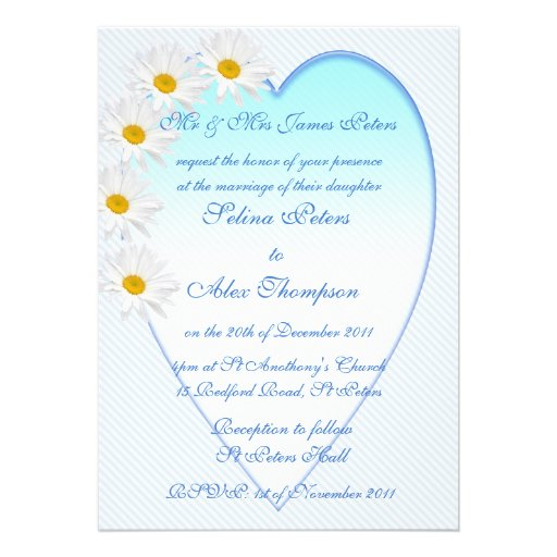 White Daisy Wedding Invitation: White Daisy Heart Wedding Invitation
