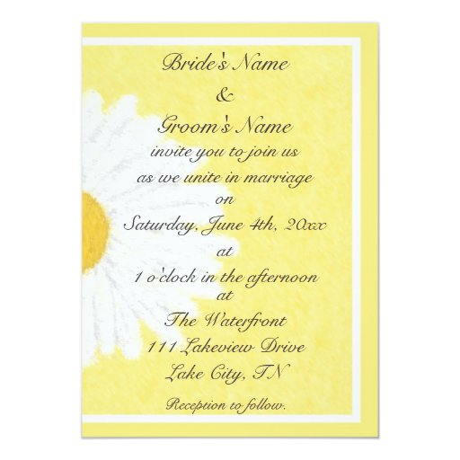 White Daisy Wedding Invitation: White Daisy On Yellow Wedding Invitation