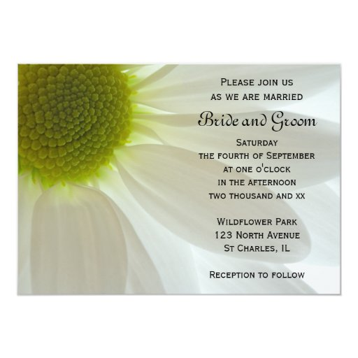 White Daisy Wedding Invitation: White Daisy Petals Wedding Invitation