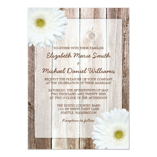White Daisy Heart Wedding Invitation: White Daisy Rustic Barn Wood Wedding Invitations