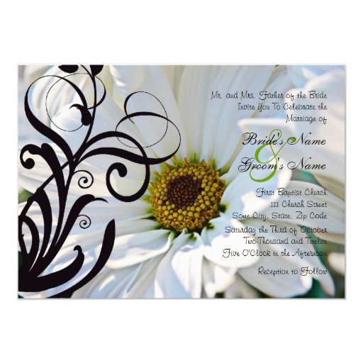 White Daisy Wedding Invitation: White Daisy Wedding Invitation