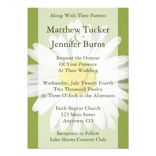 "White Daisy Wedding Invitation: White Daisy Wedding Invitation Announcement 5"" X 7"