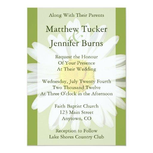 White Daisy Wedding Invitation: White Daisy Wedding Invitation Announcement
