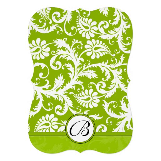 Apple Green Wedding Invitations: White Damask Swirls Apple Green Wedding Invitation