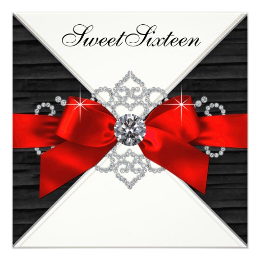 White Diamonds Black Red Sweet 16 Birthday Party Personalized Invitations