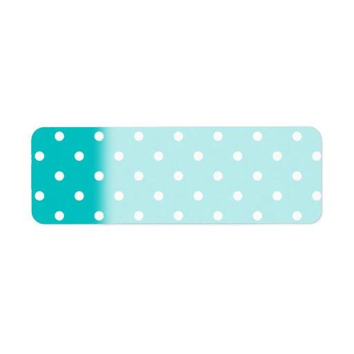 White Dots, Teal Polka Dot Pattern. Labels