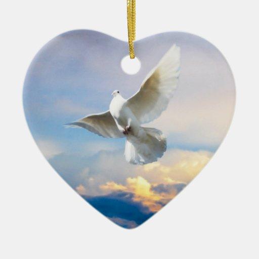 White dove in flight Double-Sided heart ceramic christmas ...