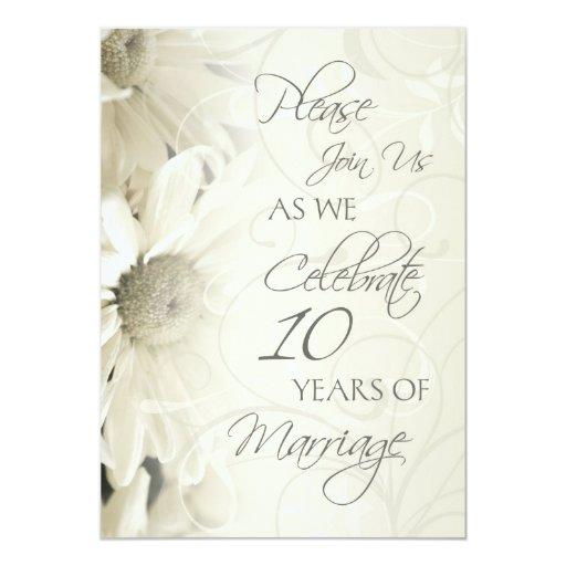 10th Wedding Anniversary Invitations: White Flowers 10th Wedding Anniversary Invitations