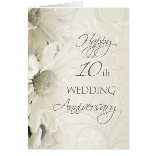 White Flowers Hy 10th Wedding Anniversary Card Zazzle