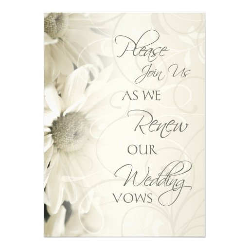 "Wedding Vow Renewal Invitations: White Flowers Wedding Vow Renewal Invitations 5"" X 7"
