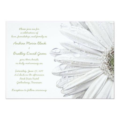 Gerbera Wedding Invitations: White Gerbera Daisy Wedding Invitation