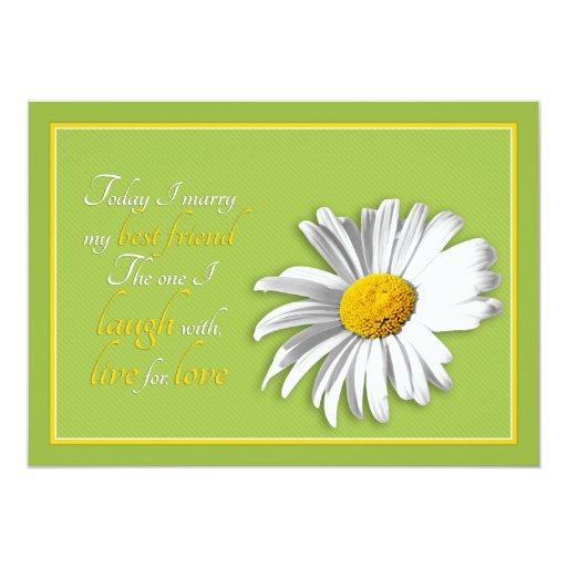 White Daisy Wedding Invitation: White Green Gold Daisy Wedding Invitation