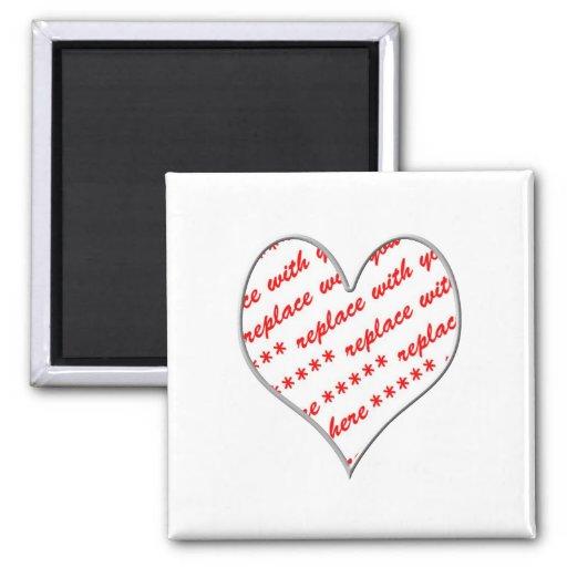 White Heart Shaped Photo Frame 2 Inch Square Magnet | Zazzle
