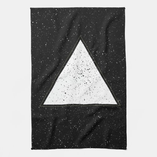 White hipster space triangle black background towels | Zazzle
