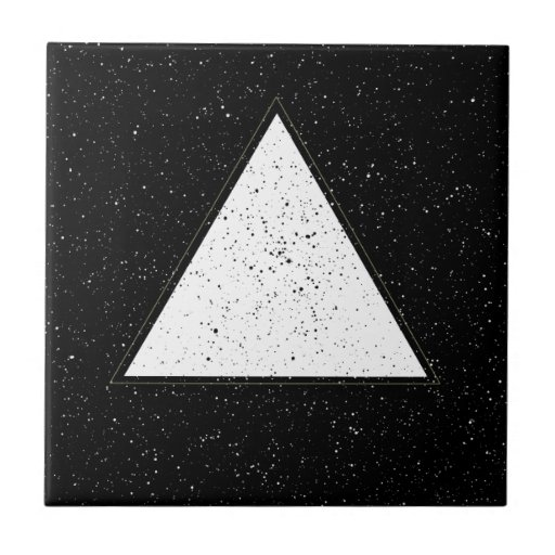 White hipster space triangle black background tile | Zazzle