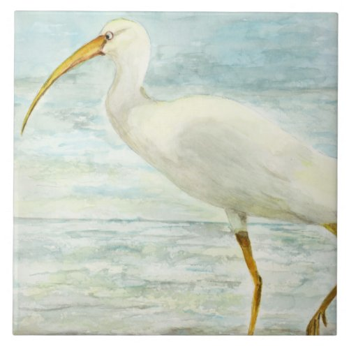 White Ibis on the Shore Beach Watercolor Painting Large Square Tile