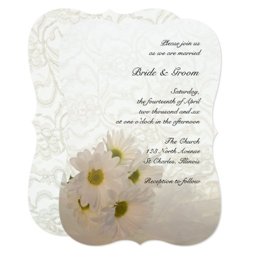 White Lace And Daisy Flowers Wedding Invitation