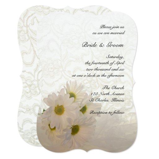 White Daisy Wedding Invitation: White Lace And Daisy Flowers Wedding Invitation