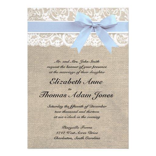 "Baby Blue Wedding Invitations: White Lace Burlap Wedding Invitation- Baby Blue 5"" X 7"