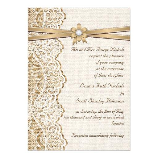 Www Zazzle Com Wedding Invitations: White Lace, Ribbon, Flower & Burlap Wedding 5x7 Paper