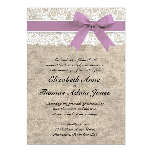 Purple Rustic Wedding Invitations: White Lace Rustic Burlap Wedding Invitation Purple