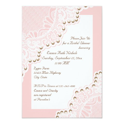Pearl And Lace Wedding Invitations: White Lace With Pearls Pink Wedding Bridal Shower Cards