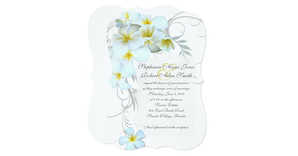 Flourish Wedding Invitations: White Plumeria Flourish Wedding Invitations
