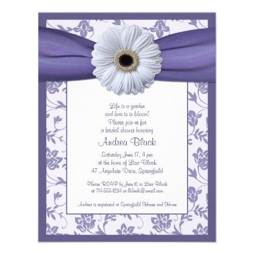 "White Purple Daisy Bridal Shower Invitation 4.25"" X 5.5"