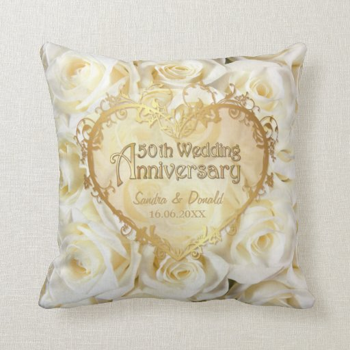 Personalized 50th Wedding Anniversary, Buck & Doe Throw ... |50th Wedding Anniversary Pillows