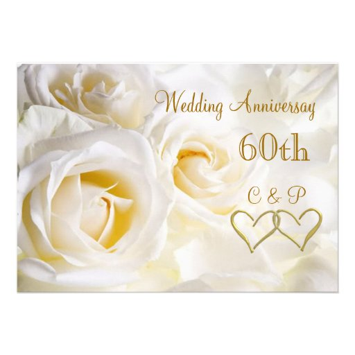 "Wedding Anniversary Invitation Message: White Roses 60th Wedding Anniversary Invitation 5"" X 7"
