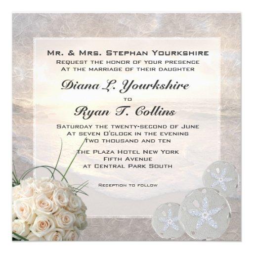 White Roses & Diamond Sand Dollar Wedding Custom Invites