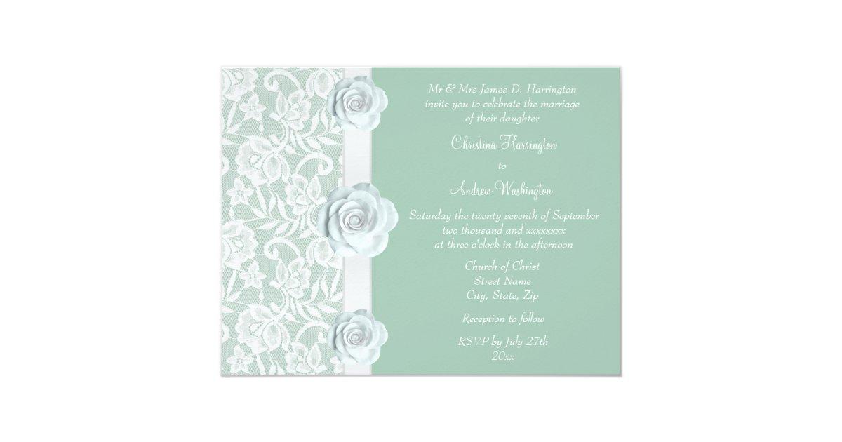 White And Green Wedding Invitations: White Roses & Lace Mint Green Wedding Invitation