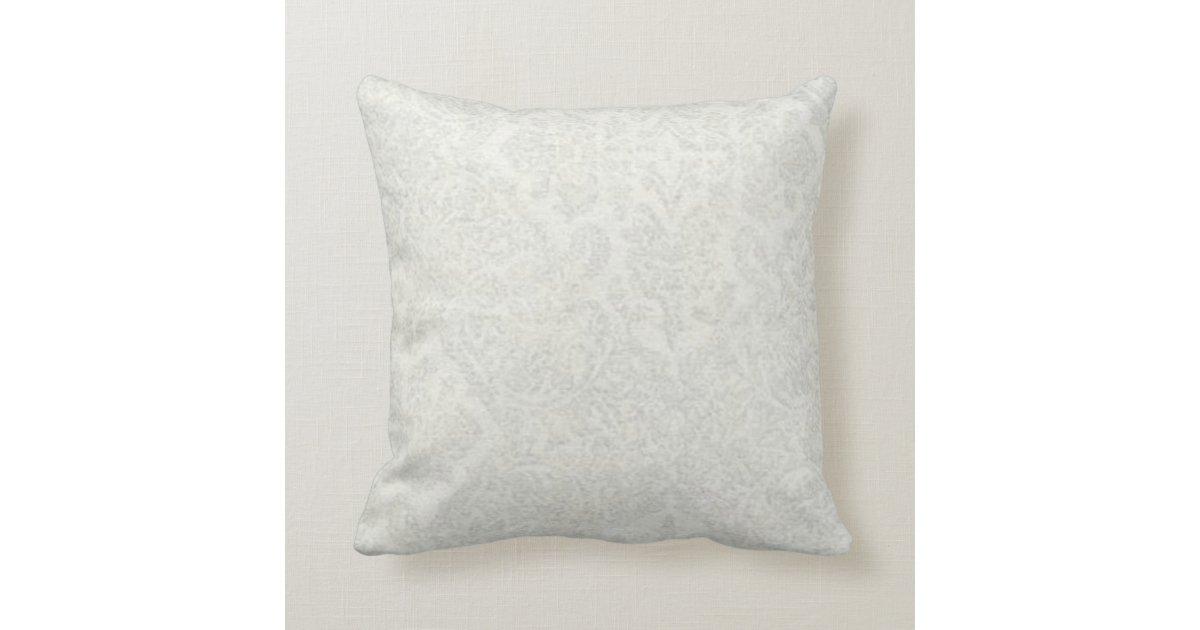 White, Silver, Damask, Cotton Throw Pillow