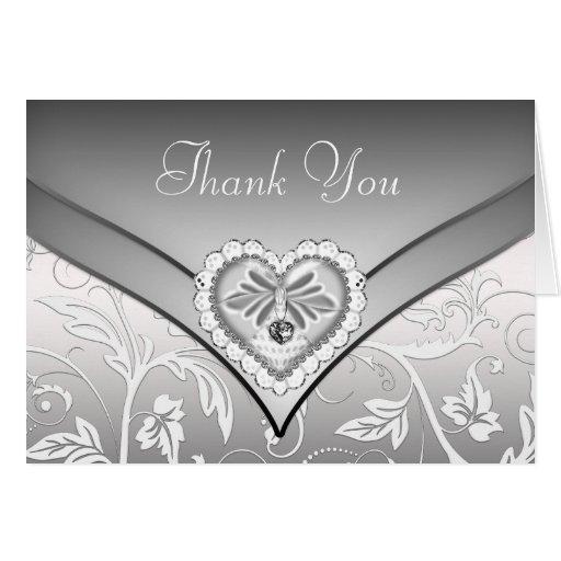 white silver diamond heart thank you cards  zazzle