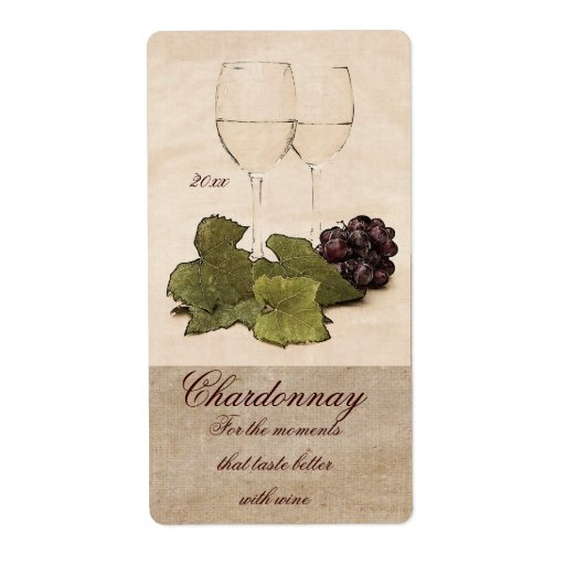 White Wine Glasses With Grapes Wine Label Shipping Label