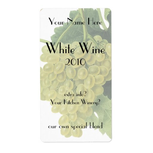 White Wine Grapes On The Vine, Vintage Food Fruit Label