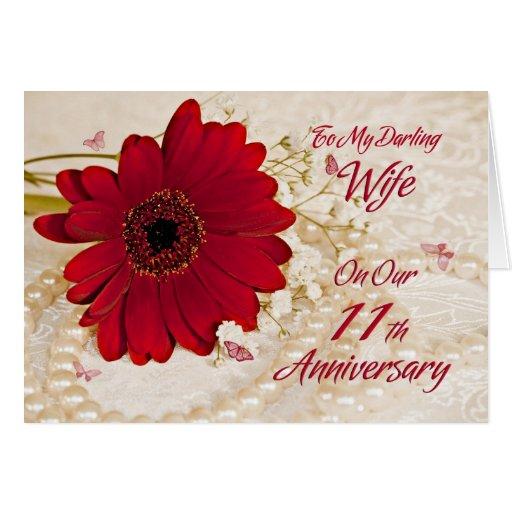 Wife On 11th Wedding Anniversary, A Daisy Flower Card
